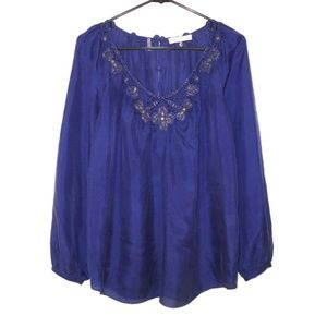 Rebecca Taylor 8 Silk Purple Lace Blouse Top Beads